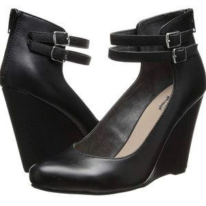 Seychelles Heritage Black Leather Mary Jane Wedge